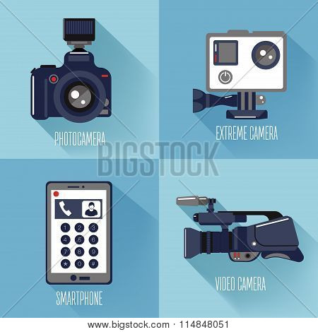 Modern Technologies. Professional Photo And Video Camera, Extreme Camera And Smart Phone