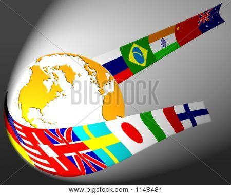 Globe And Flag Abstract