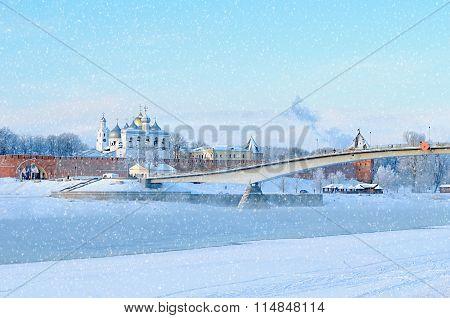 St Sophia Cathedral In Novgorod Kremlin In Veliky Novgorod, Russia, In Winter Sunny Day