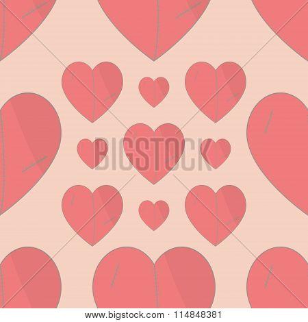 Seamless  Pattern With Plush Hearts. Stylish Valentines Background