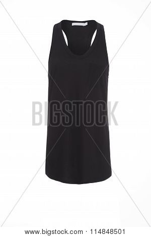 Black Tank Top On Invisible Mannequin Over White Background
