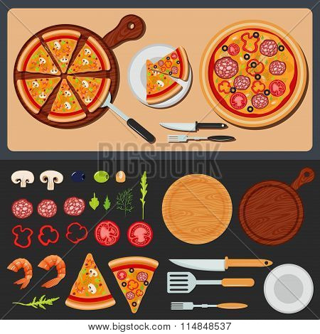 Pizza On The Plate And Ingredients For Pizza