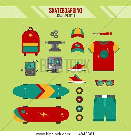 Skateboarding Kit. Urban Lifestyle. Set Of Skateboarding Accessories