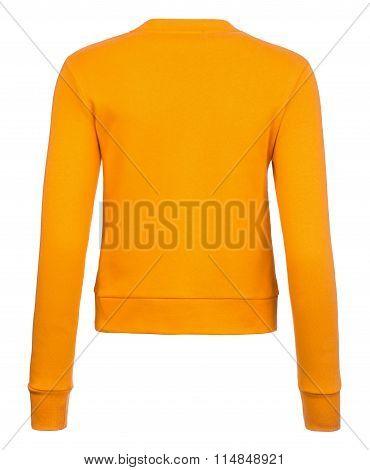 Rear Plain Orange Ladies' Sweatshirt Over White Background