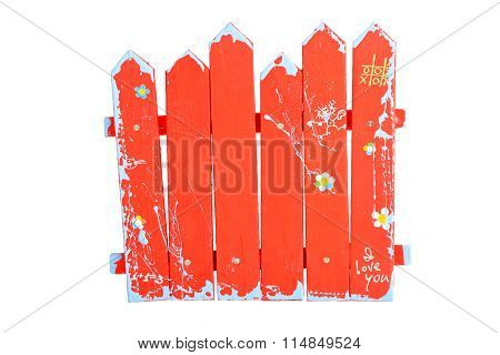 Wooden Red Souvenir Handmade Fence On White