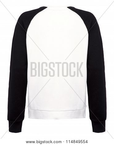 Rear Cut-out Of White Shirt With Long Black Sleeves