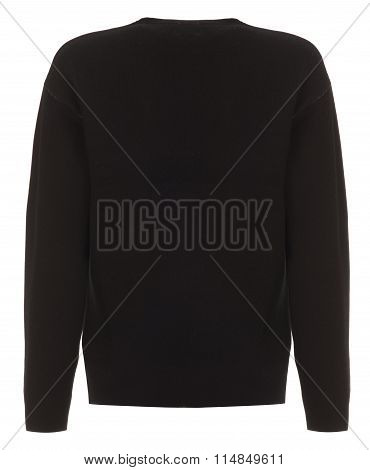 Rear Cut-out Of Black Long-sleeved Shirt On Invisible Mannequin