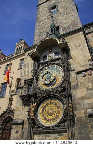 Prague, Czech Republic - April 24, 2013: Prague Astronomical Clock (prague Orloj) On The Wall Of Old