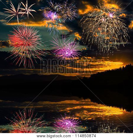 Fireworks Reflected In The Water Of The River
