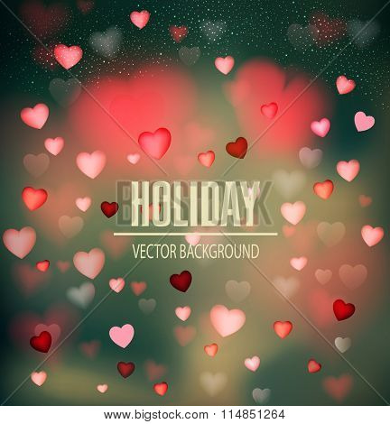 Vector festive background for Valentine's Day with hearts