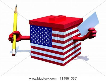 Ballot Box With American Flag