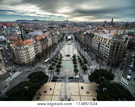 PORTO, PORTUGAL - CIRCA DECEMBER 2015: Liberty Square, Porto, Portugal