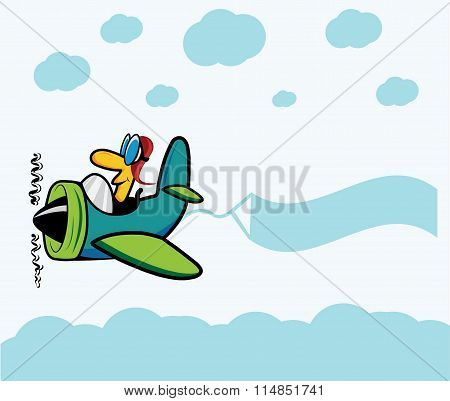 Cartoon Plane With Pilot ,clouds And Advertising Banner