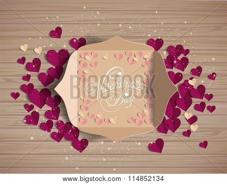 Valentine's day card in an envelope. Greeting Card. Invitation card for wedding