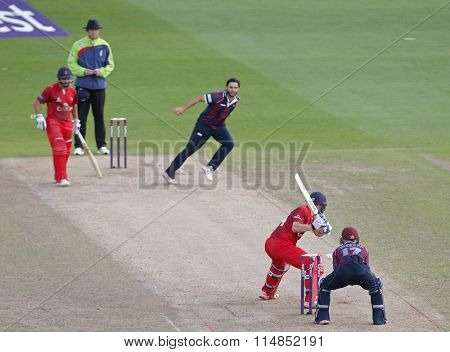 BIRMINGHAM, ENGLAND - AUGUST 29 2015:  The NatWest T20 Blast Final between Northamptonshire and Lancashire at Edgbaston Cricket Ground, in Birmingham, England.