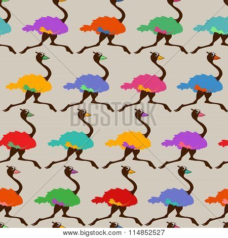 Colorful Seamless Pattern With Running Ostrich.