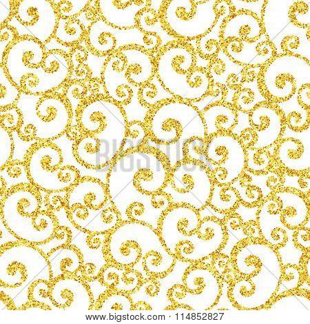 Abstract vector gold dust glitter swirl seamless pattern