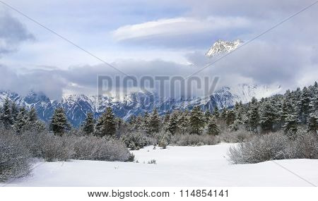 Snowy Vale At The Bottom Of Ushba