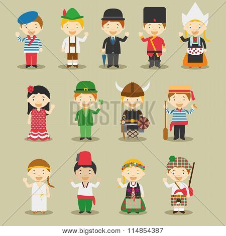 Kids and nationalities of the world vector: Europe Set 1