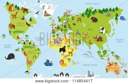 Funny cartoon world map with traditional animals of all the continents and oceans