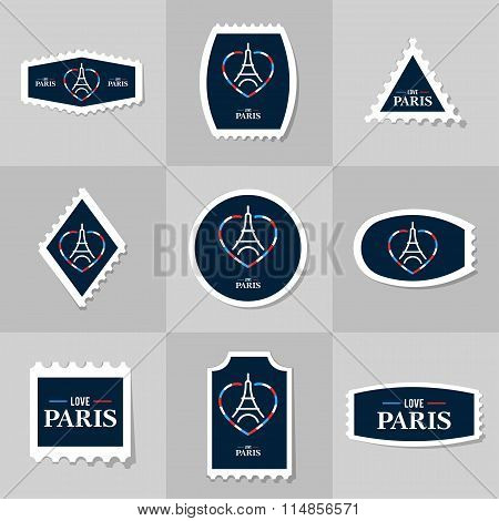 Collection Of Eiffel Tower Postage Stamp