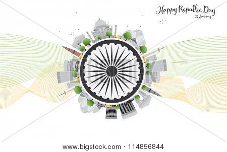 Happy Indian Republic Day celebration. Concept with indian Landmarks and copy space. Buildings on white background