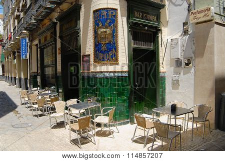 Exterior of the Europa bar in Seville, Spain.