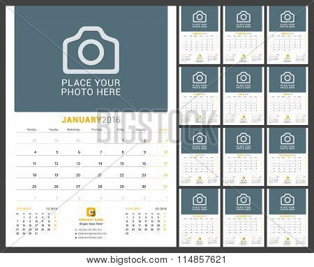 Wall Monthly Calendar Planner For 2016 Year. Vector Design Print Template With Place For Photo And N