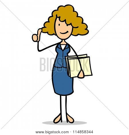 Smiling cartoon business woman holding her thumbs up