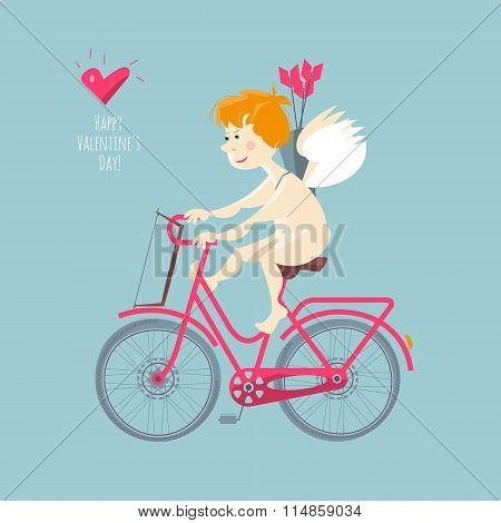 Cupid Riding A Bike. Happy Valentine's Day.