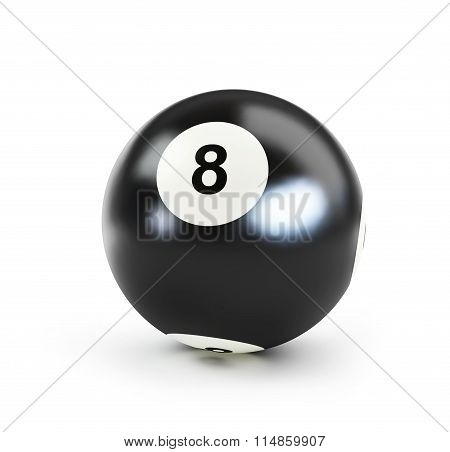 Pool Black Ball Number Eight On White Background