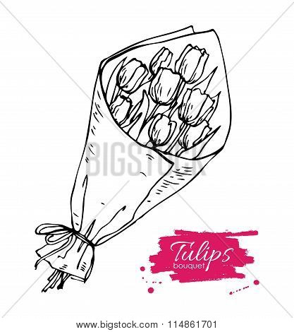 Vector Hand Drawn Toulips Bouquet Illustration