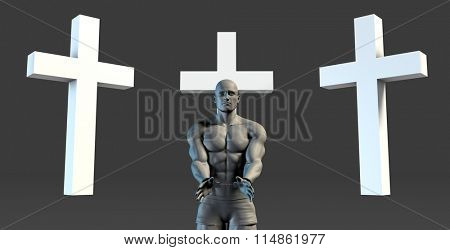 Criminal in Handcuffs Seeking Forgiveness In a Cross