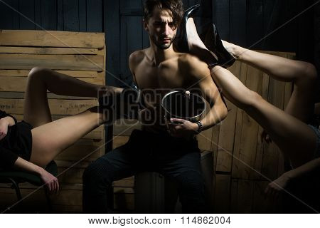 Guy And Female Legs