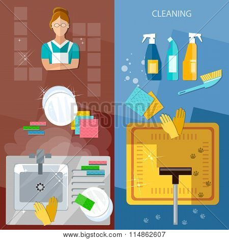 Cleaning Service Banners House Cleaning Wash Dirty Dishes Vacuum Cleaner