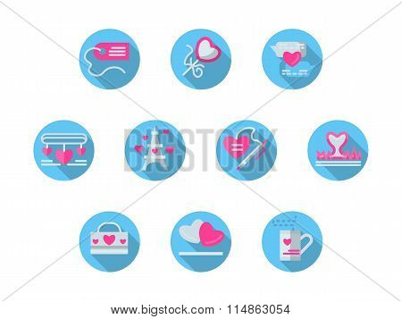 Blue round romantic events flat vector icons set