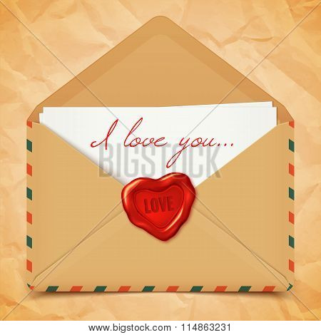 Valentine's Day Postcard With Old Retro Vector Envelope With Wax Seal In Heart Shape, Love Letter Il