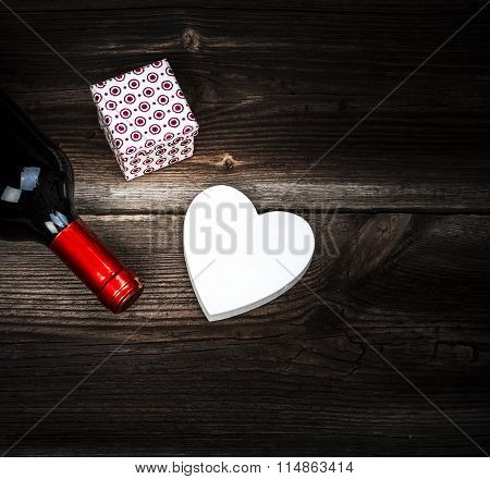 Love Concept. Heart, Wine And Gift.