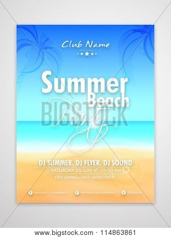 Summer Beach Party Template, Banner or Flyer design with beautiful nature view.