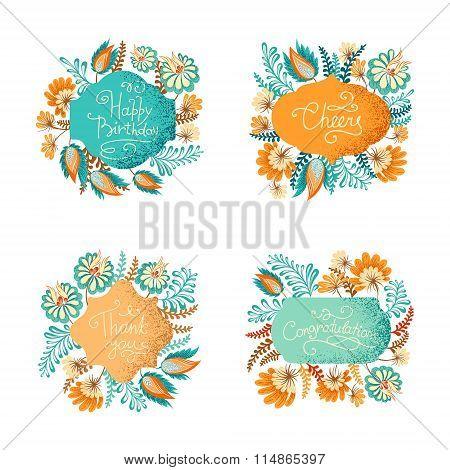 Floral vignettes bundle