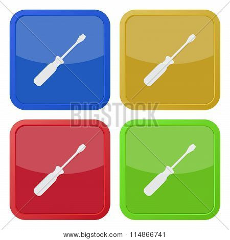 Set Of Four Square Icons With Screwdriver