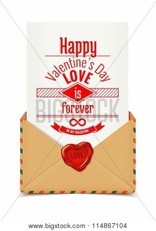Realistic Retro Vector Envelope With Wax Seal In Heart Shape With Love Message, Valentine Illustrati
