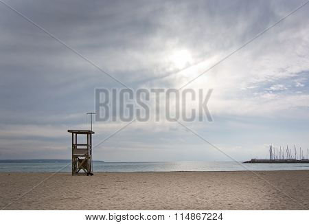 Empty Lifeguard Tower