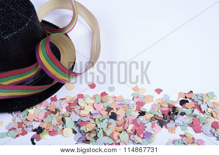 Confetty And Colorful Streamers On White Background