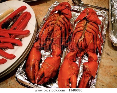Two 3 Pound Lobsters Set Out For Cooking