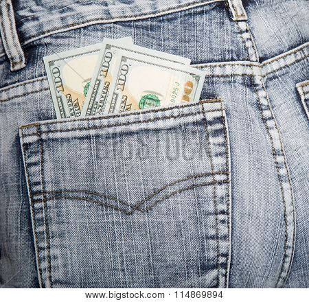 Money, Some Notes On Hundred Dollars, In A Hip-pocket Of Blue Jeans
