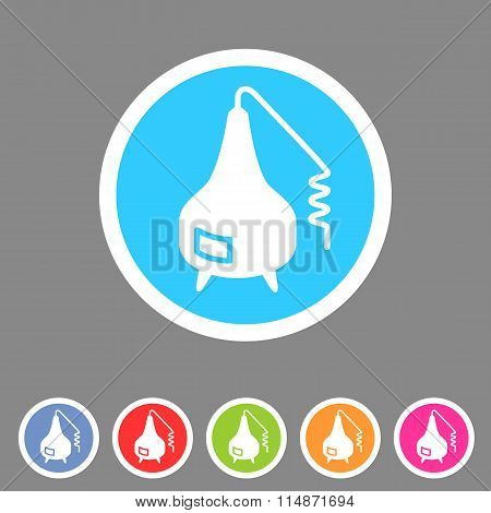 Distillation apparatus icon flat web sign symbol logo label