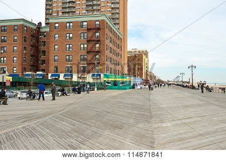 NEW YORK CITY - APRIL 1: Coney Island boardwalk, Brighton beach, Brooklyn, USA,  April 1 2014 in New York, USA