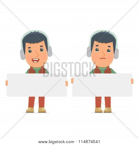 Funny Character Winter Citizen Holds And Interacts With Blank Forms Or Objects