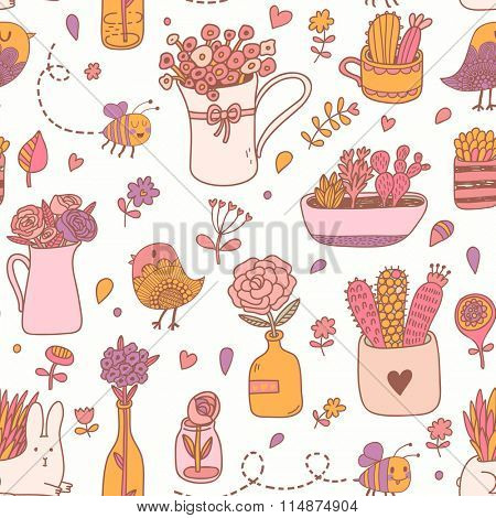 Cute floral seamless pattern made of different house plants in pink colors. Lovely natural background made of house flowers in pots and birds, bees with rabbits in vector